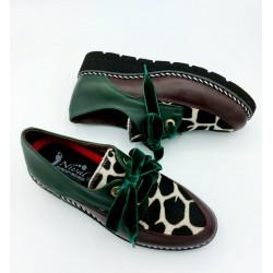 Zapato Mujer Verde Y Animal...
