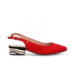 Zapato destalonado rojo con...